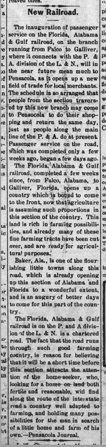 FA&G RR opens, Falco to Galiver, Florala News, 5 Oct 1911 - News