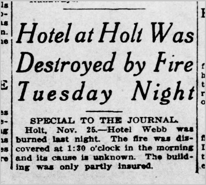 Holt Hotel burns, PNJ, 26 Nov 1914 - Newspapers.com